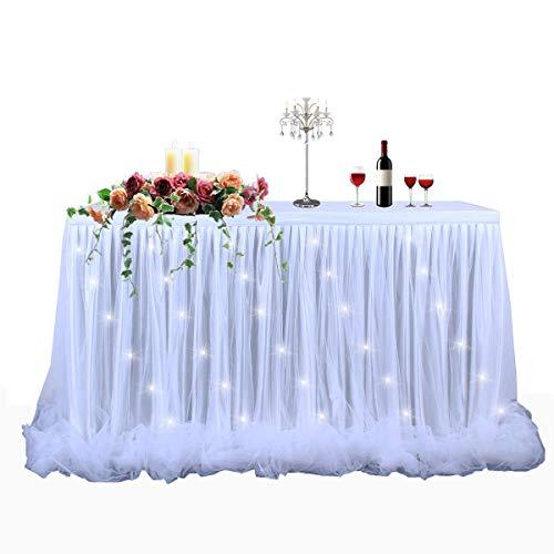 (HBBmagic LED Handgefertigte Tischdecke/Tischdeko Tutu Tischrock Für Party, Hochzeit, Geburtstag, Weihnachten, Festival, Carniva, Feier Tischdekoration(Weiß,275cm*76cm))