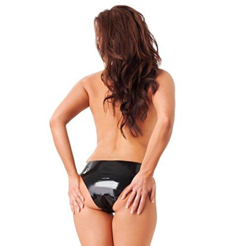 Erotic Fashion Damen Slip mit Dildo innen (12 x 3.5 cm) Latex schwarz Größe M