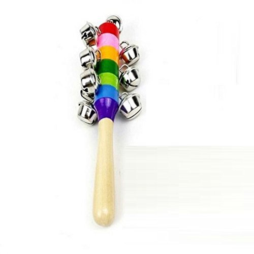 NammaBaby Colorful Wooden Rainbow Handle Jingle Bell Rattle Toys Pack Of 1 Rattle