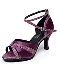 JSHOE Damen Sandalen Flared Heel Super Satin mit Funkelnden Glitter Tanzschuhe,Gold-heeled7.5cm-UK6/EU39/Our40