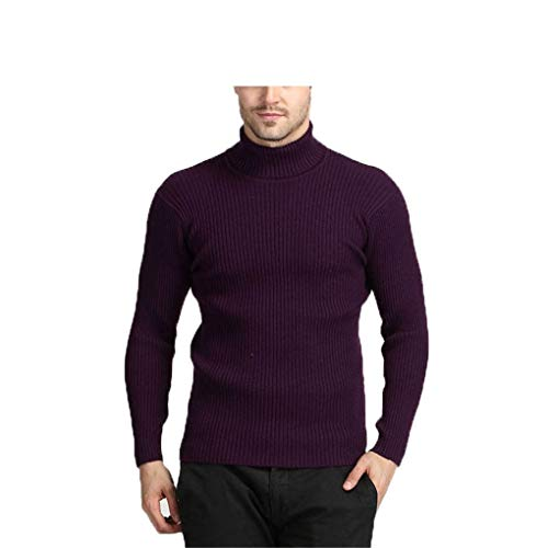 Guyufang Winter Thick Warm Cashmere Sweater Men Turtleneck Mens Sweaters Slim Fit Pullover Men Classic Wool Knitwear Pull Purple XL -