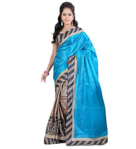 Muta Fashions Sky Blue Printed Classy Woman's Saree ( Unstitched_Free Size_Sky Blue )  available at amazon for Rs.299