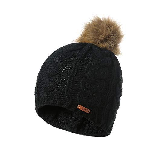 LIGHTBLUE Big Ball Strickmütze Cute Pattern Crochet Beanie Mütze Soft Winter Warm Ear Headgear, schwarz -