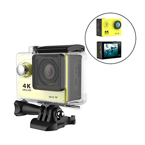 Traioy 4K 2,0 Zoll Wasserdichte Sportkamera Mini-HD-Smart-Kamera mit Unterstützung für WiFi, HDMI, Sport-DV einschließlich Einsatz-Kits,Yellow