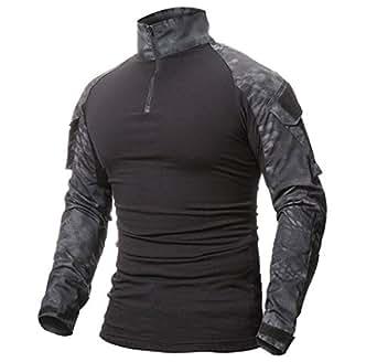 ShallGood Homme Chemises Combat Militaire Airsoft BDU Shirt Tenue ... dffb959caf6