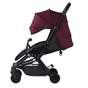 WFCVS Pushchairs Stroller Trolley Sit Lie Shockproof Ultra Light Folding Parachute Car 0-3 Years Old On Board,Claret   15