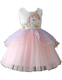 d4ce8ef6c63e Girls Princess Unicorn Tutu Costume Dress Dancing Tulle Summer Sleeveless  Cosplay Birthday Party Fancy up Dress