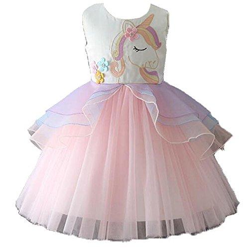 Kostüm Tanzen Fancy - Mädchen Prinzessin Einhorn Tutu Kostüm Kleid Tanzen Tüll Sommer Ärmellos Cosplay Geburtstagsfeier Fancy Up Dress (3-4 Jahre, Rosa)