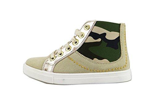 DIDI BLU sneakers bambina beige camoscio oro pelle AG473 (32 EU)