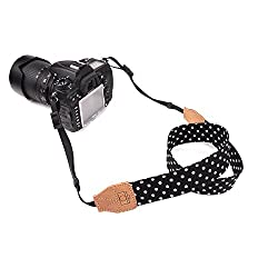 CHMETE Upgrade Polka Dots Digital SLR Camera Camcorder Neck Shoulder Straps Belt for Canon Nikon Samsung Olympus Sony Fujifilm Panasonic(Black)