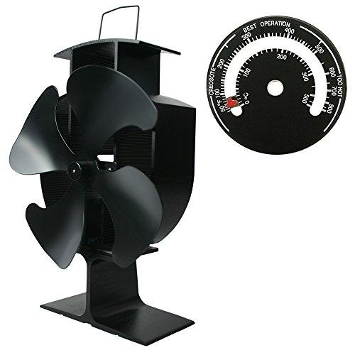 Lincsfire Kaminlüfter für Holzbrenner, Herdventilator mit 4 Blättern Umweltfreundlich Schwarz mit Magnetisches Ofen-Thermometer