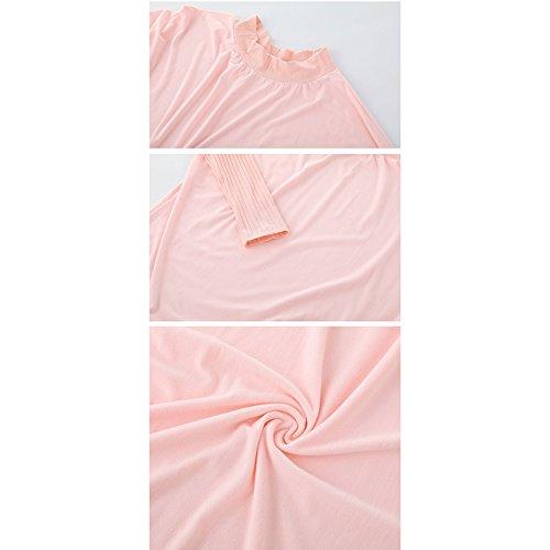 Juleya Vestiti di maglione delle donne - Maglione elegante del pullover della maglietta felpata di autunno / inverno Maglione oversize della maglietta felpata Rosa