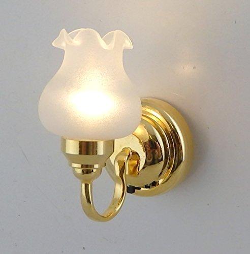 Melody Jane Dolls Houses Puppenhaus Miniatur 1:12 LED Batterie weiße Blumen matt warmes Wandleuchte Lampe