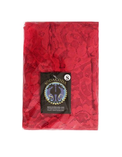 SODACODA Minikleid - Short Lace Dress - Kurzes Spitzen Kleid - 3/4 lange Ärmel und V-Neck Rot