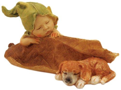 Collection de Enchanted Story Fée Fée de couchage bébé de jardin avec enclos d'extérieur Statue