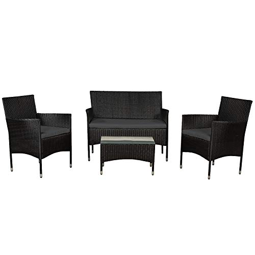 ArtLife Polyrattan Sitzgruppe Fort Myers schwarz | dunkelgraue Bezüge | 4 Personen | Lounge Rattanoptik Gartenmöbel-Set für Balkon oder Terrasse -