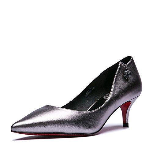 Lumière cuir Lady à l'automne à pointe talons strass/Chaussures à talon bas
