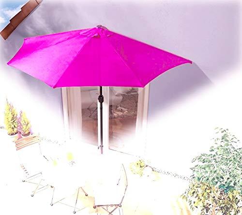 IMC Sonnenschirm halbrund pink Magenta Balkon mit Kurbel Wandschim Marktschirm Balkonschirm Terrasse Garten Sonnenschutz Halbschirm halb...