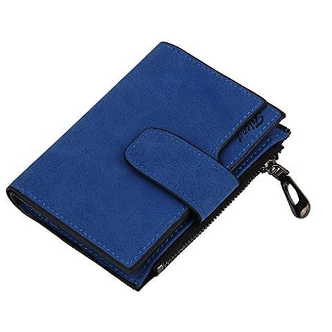 Bluester Women Mini Grind Magic Bifold Leather Wallet Card Holder Wallet Purse Handbag (Blue)