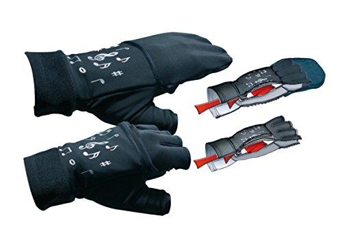 mugesh Handschuhe Noten (ohne Fingerkuppen) mit Klappe und Heizkissen S/M - Schönes Geschenk für Musiker