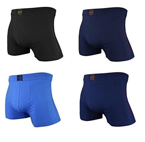C+3 Herren Baumwoll Boxershorts 4er Pack je 1x schwarz, dunkelblau, hellblau, prugna-blau
