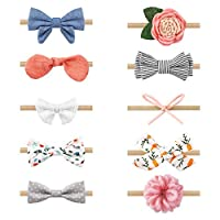 Zoe Deco Baby Girl Headbands, Newborn Hairbands w/Bows, (Little Miss 10 PK)