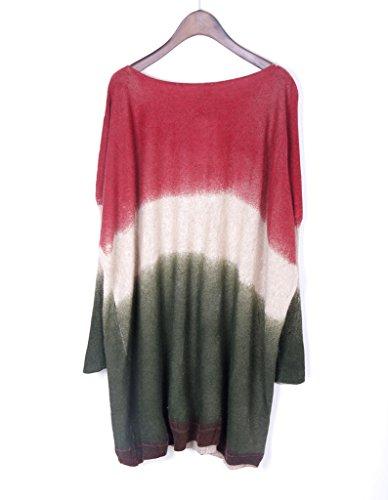 Smile YKK Femme Fashion Pull Bat Tricot Veste Swing T-shirt Manches Longue Couleurs Changé Vert