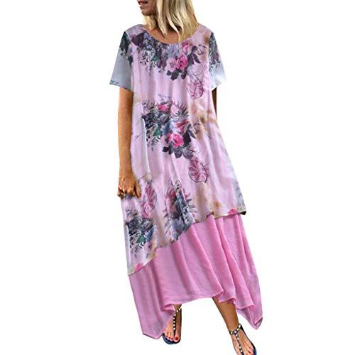 Kleider Damen, GJKK Vintage Maxikleid Elegant Kleider Festlich Asymmetrisches Cocktailkleid Oversize...