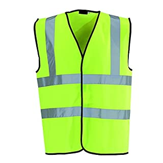 Kids Sized Yellow/Green Hi Viz Safety Vest with Reflective Band Waistcoat Jacket Top Durable Light Weight Fabric - Safety First Stay Safe with this Vest - Keep your kids safe walking home from school (One Hi-Viz Vest)