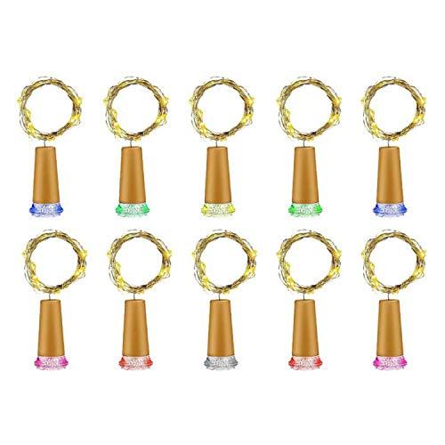 Myone Weinflaschen-Lichter, 10 Stück Lichterkette mit Kork, LED-Lichterkette für Flaschen, LED Outdoor Draht Lichter für DIY, Party, Dekor, Weihnachten, Halloween, Hochzeit