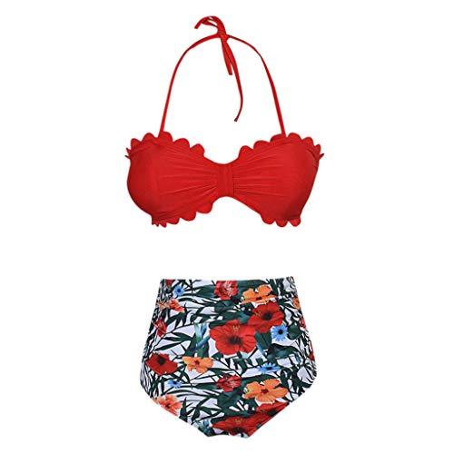 Bikini-Sets Damen, Geteilter Badeanzug Frauen High Waist Geblümte Schwimmanzug Muschel-Kante Neckholder Slip Bikinihosen Badeanzüge Bademode Strandmode Swimsuit (Rot, L) - 7