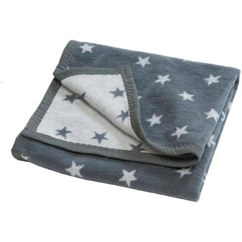 Hippychick - Manta para sillita de paseo (forro polar), diseño con estrellas, color gris