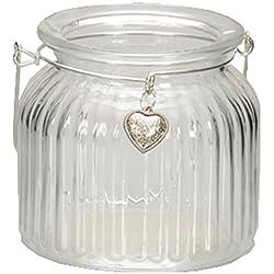 Windlichter mit Henkel und süssem Herzanhänger für Teelichter