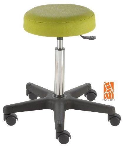 Arbeitshocker, Arzthocker, Drehhocker, Rollhocker Modell comfort, Hubbereich ca. 54 -73 cm, Rollen mit harter Radbandage. Ideal geeignet für weiche Böden wie z.B. Teppich. Sitzfarbe limone
