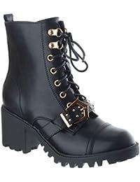 Donna Pizzo Zip Militare Tacco Spesso Borchie Stivaletti Scarpe Taglia 4fc223b339b