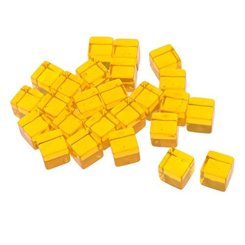 MagiDeal 25er-Set Acryl Transparent Blanko D6 Sechsseitig Würfel für Brettspiel, Bunt - Gelb