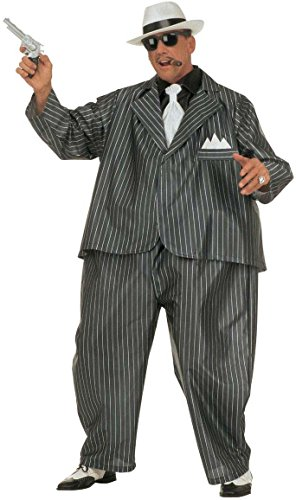 Widmann 4501G - Erwachsenenkostüm Dicker Gangster, Kostüm mit Reifen, Jacke und Krawatte, Einheitsgröße (Italienische Mob Kostüm)