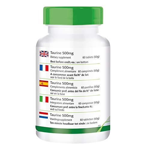 Taurin 500mg – für 2 Monate – VEGAN – HOCHDOSIERT – 60 Tabletten