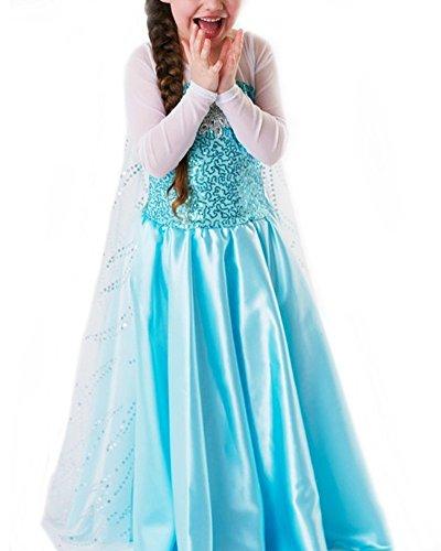 UUstar® Prinzessin Kostüm Karneval Verkleidung Party Cosplay Kleid Anna Elsa (100, Elsa (Tv Party Thema Kostüme)