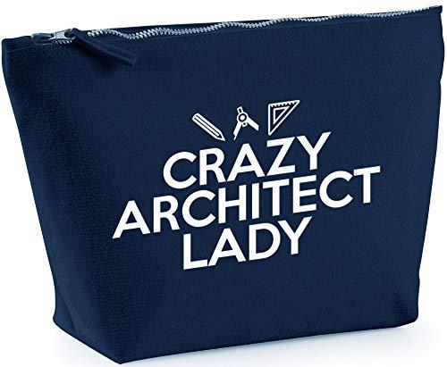 Hippowarehouse Crazy Architect Lady Bolsa de Lavado cosmética Maquillaje Impreso 18x19x9cm