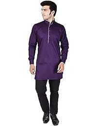Veera Paridhaan Men's Solid Purple Cotton Kurta