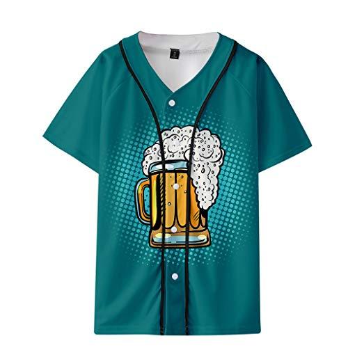Xmiral T-Shirt Herren Bier Festival 3D Drucken Kurzarm Dünn Baseball-Kleidung Tops Sweatshirt Oberteile Mode Slim Fit Hemden Oktoberfest(Mintgrün,XXL) The North Face Thermal Pullover