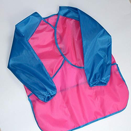 Kinder Kinder Langarm-Schürze wasserdichte Schmutzfeste Zeichnung Malerei Kittel (Color : Pink+Blue Sleeve) (Kittel Für Malerei)