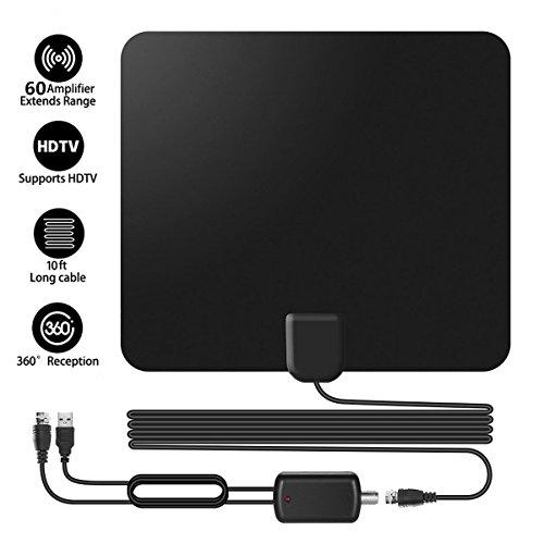 YKLWORLD Indoor TV-Antenne, 60 Meilen Reichweite Freeview DVB-T Zimmerantenne digitale HDTV Fernsehantenne mit Signalverstärker Booster und 13.1Ft Koaxialkabel, Unterstützung 1080P VHF UHF, schwarz Tv-splitter-booster