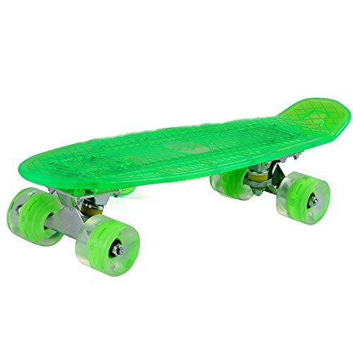 Klassisches Skateboard Skateboard LED Licht vier Runden kleine Fischplatte ABS Material blau oder grün Geburtstagsgeschenk for Kinder Jungen Mädchen 5 Jahre alt Geeignet für Anfänger und Profis -