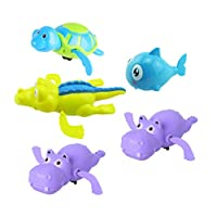 TOYANDONA 5PCS Wind Up Bath Toys, Turtle/Hippo/Cartoon Shark/Crocodile Baby Bath Toy for Toddlers Floating Toys-Random Color