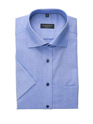 eterna Kurzarm Hemd Comfort Fit Chambray Unifarben, Blau, L/42