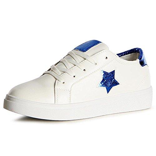 topschuhe24 1112 Damen Turnschuhe Sneaker Sportschuhe Blau