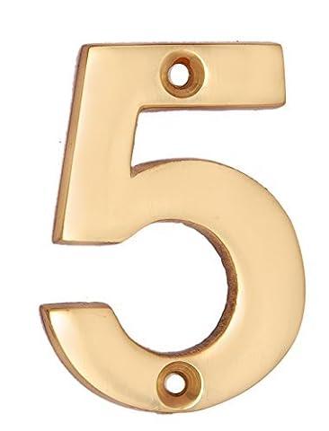"Adonai Hardware 2"" Broad Brass Numeral ""5"""
