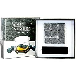 Ensemble de Cadeaux Pierre a Whisky Glacon Pierre Whisky Glaçons Reutilisable Glacon Pierres à Whisky Pierre Whiskey Granit 9 Pierres pour Whisky